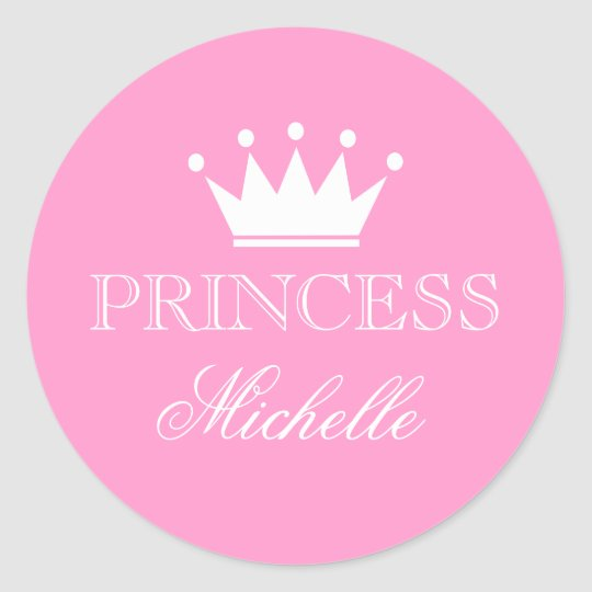 Personalised pink baby shower stickers with crown
