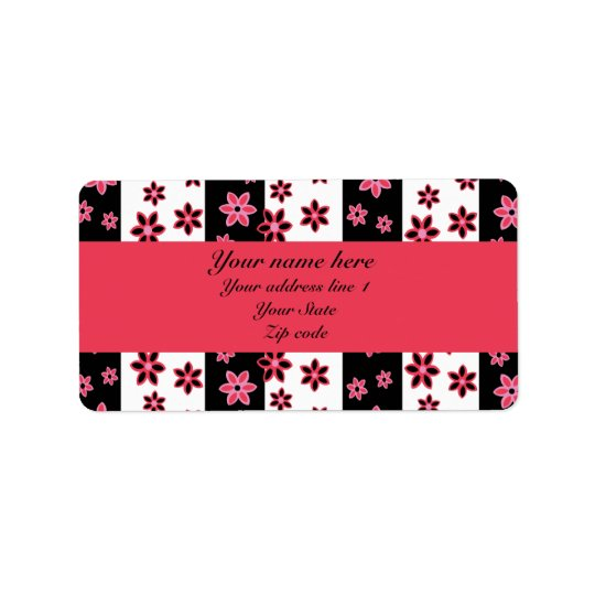 personalised pink black and white floral pattern label