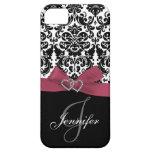 Personalised Pink, Black Ornate Damask Case