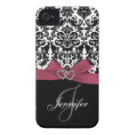 Personalised Pink, Black Ornate Damask Case iPhone 4 Case-Mate Cases
