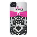 Personalised Pink, Black, Silver Damask Case-Mate iPhone 4 Cases