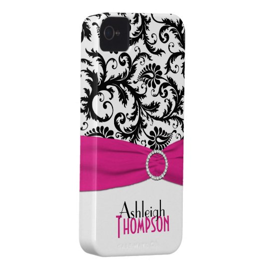Personalised Pink, Black, White Floral Damask iPhone 4 Covers