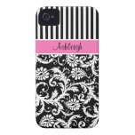 Personalised Pink, Black, White Striped Damask iPhone 4 Case