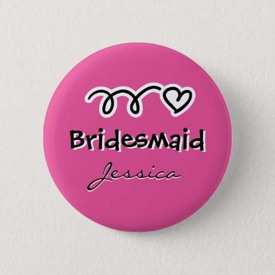Personalised pink bridesmaid badge buttons