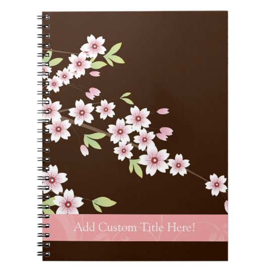 Personalised Pink/Brown Dogwood Blossom Spiral Notebook