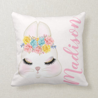 Personalised Pink Bunny Face Floral Cushion