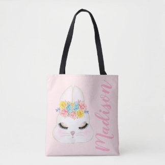 Personalised Pink Bunny Face Floral Tote Bag