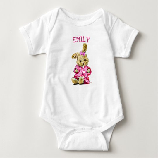 Personalised Pink Bunny Rabbit Baby One Piece Baby
