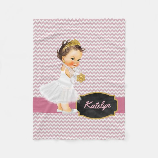 Personalised Pink Chevron Gold | Princess Nursery Fleece
