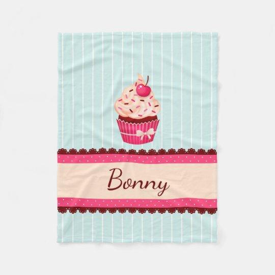 Personalised Pink Cupcake Mint Blue Background Fleece Blanket