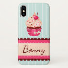 Personalised Pink Cupcake Mint Blue Background iPhone X Case