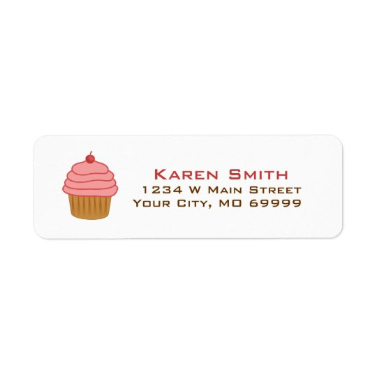 Personalised Pink Cupcake Return Address Label
