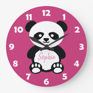 Personalised Pink Cute Panda Bear Kids Kawaii Large Clock