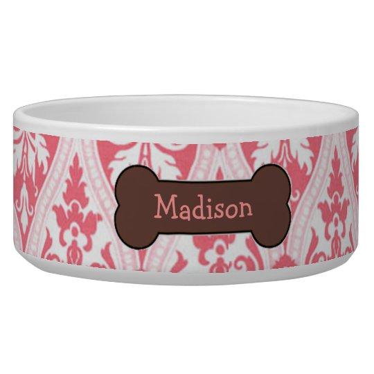 Personalised Pink Damask Dog Food Bowl