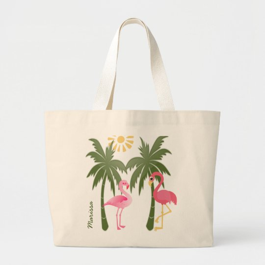 Personalised Pink Flamingo Beach Tote