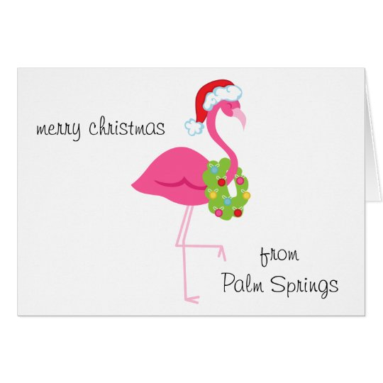 Personalised Pink Flamingo Santa Christmas Card
