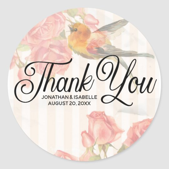 Personalised Pink Floral Thank You Sticker