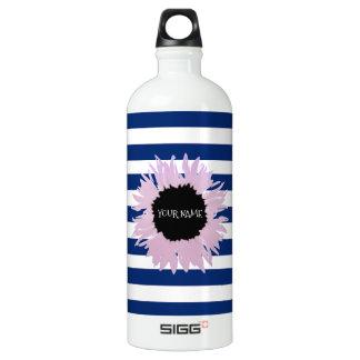 Personalised Pink Flower Water Bottle