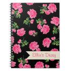 Personalised Pink flowers & stylish black notebook