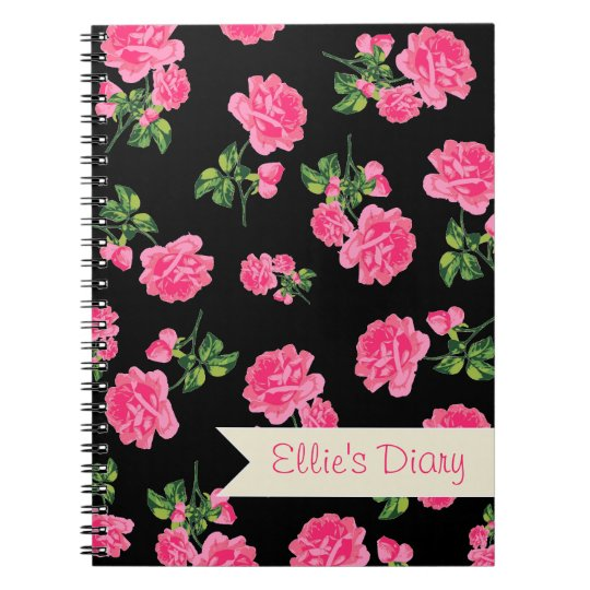 Personalised Pink flowers & stylish black notebook