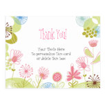 Personalised Pink Flowers Thank You Postcard