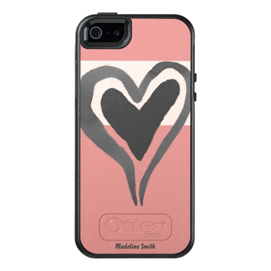 Personalised Pink Funky Watercolor Heart OtterBox iPhone 5/5s/SE