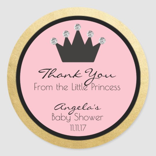Personalised Pink Gold Princess Baby Shower Labels