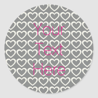Personalised Pink Grey Cream Hearts Pattern Classic Round Sticker