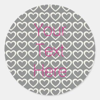 Personalised Pink Grey Cream Hearts Pattern Round Sticker