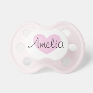 Personalised Pink Heart Baby Pacifier