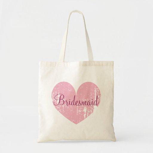 Personalised pink heart bridesmaid tote bags
