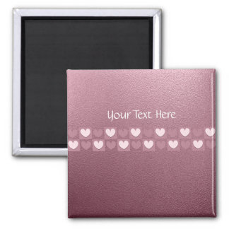 Personalised Pink Hearts Pin Square Magnet