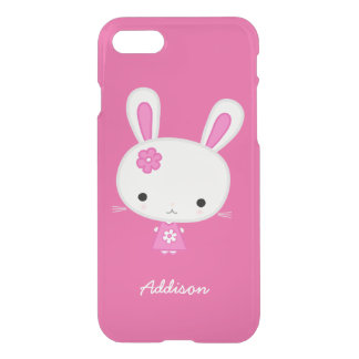 Personalised Pink Kawaii Bunny Clear iPhone 7 Case