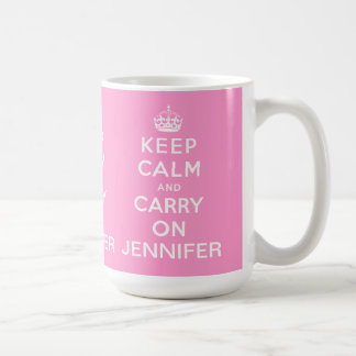 Personalised Pink Keep Calm and Carry On Basic White Mug