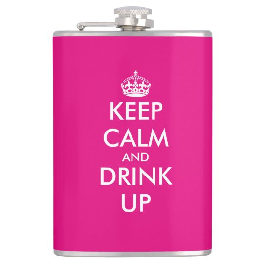 Personalised pink keep calm hip flask for women