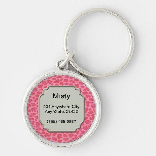 Personalised Pink Leopard Skin Pet ID Tag Key