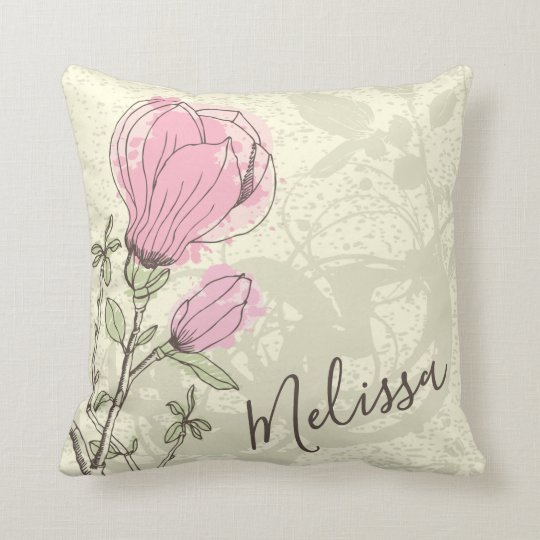 Personalised Pink Magnolia Bloom | Throw Pillow