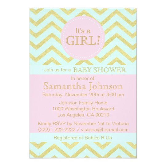 Personalised Pink Mint Green Gold Baby Shower Girl
