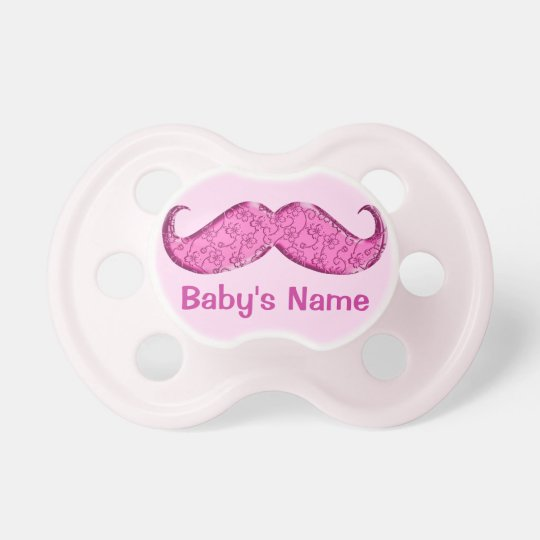 Personalised Pink Moustache Pacifier for Babies