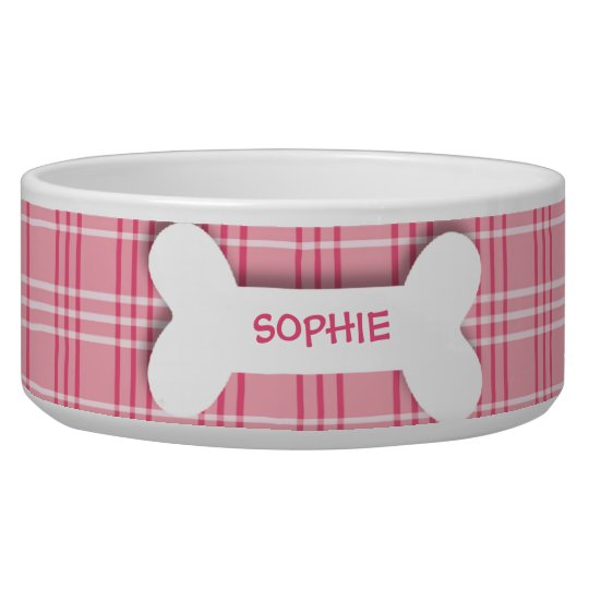 Personalised pink plaid dog bone pet food bowl