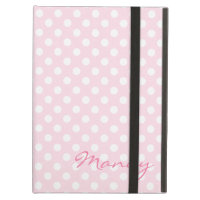 Personalised pink polka dot iPad case