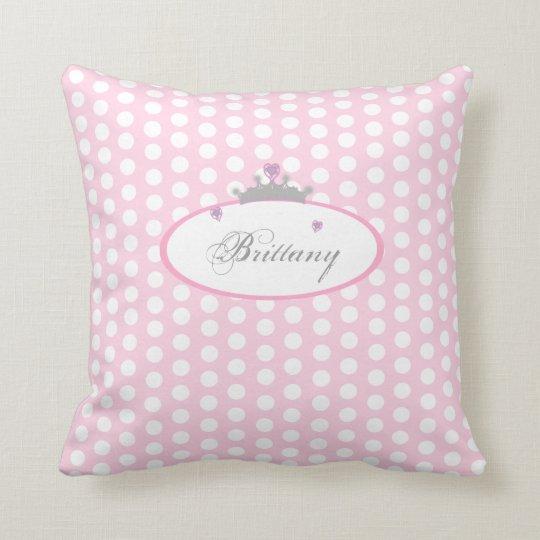 Personalised Pink Polka Dot Princess Pillow