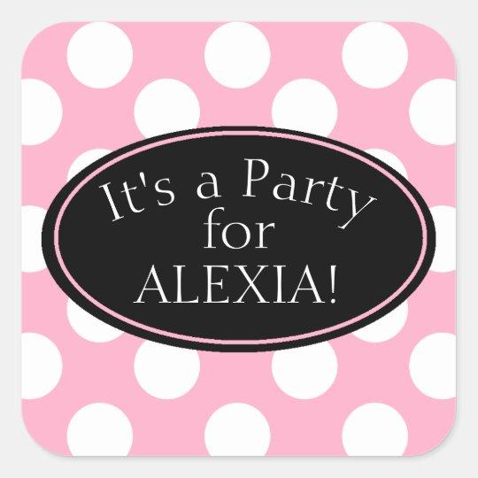 Personalised Pink Polka Dot Sticker