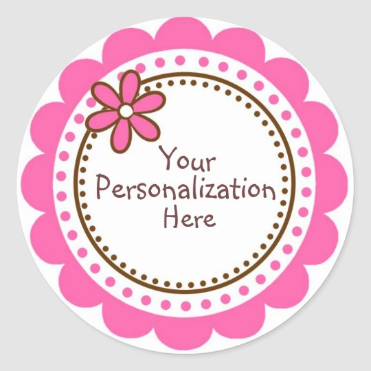 Personalised Pink Polka Dots and Scallops Classic Round