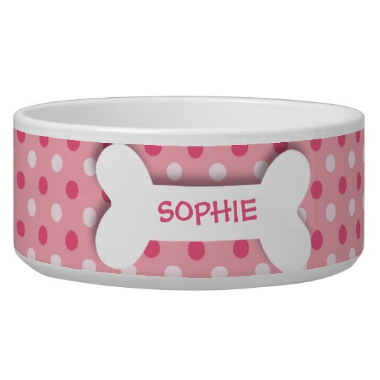Personalised pink polkadots dog bone pet food bowl