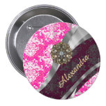 Personalised pink pretty girly damask pattern 7.5 cm round badge