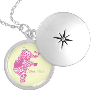 Personalised Pink Princess Elephant Necklace