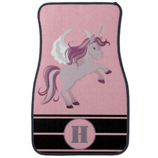 Personalised Pink Purple Unicorn Racing Stripes Car Mat