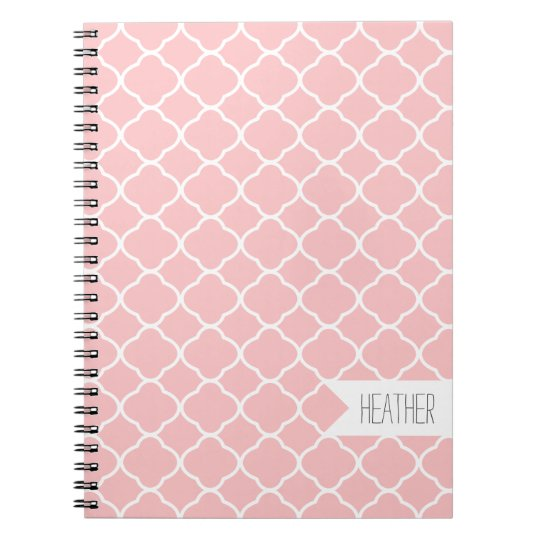 Personalised Pink Quatrefoil Pattern Notebook