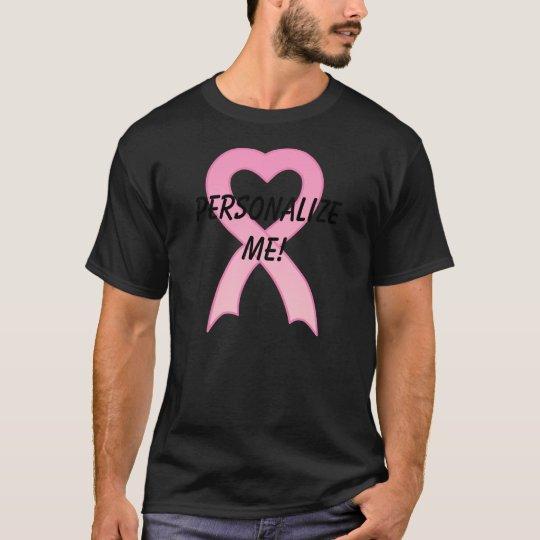 Personalised Pink Ribbon Heart Men's T-Shirt